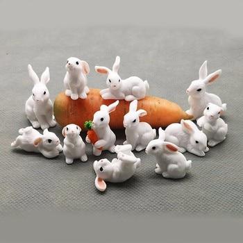 Decorazione Pasqua In Miniatura Lepre Animale Figurine Resina Mini Coniglio  1