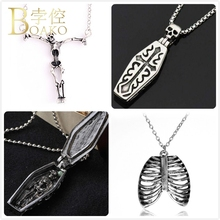 BOAKO Gothic Stainless Steel Necklace For Men Halloween costal Pendant Girl Cross Skull Skeleton Z5
