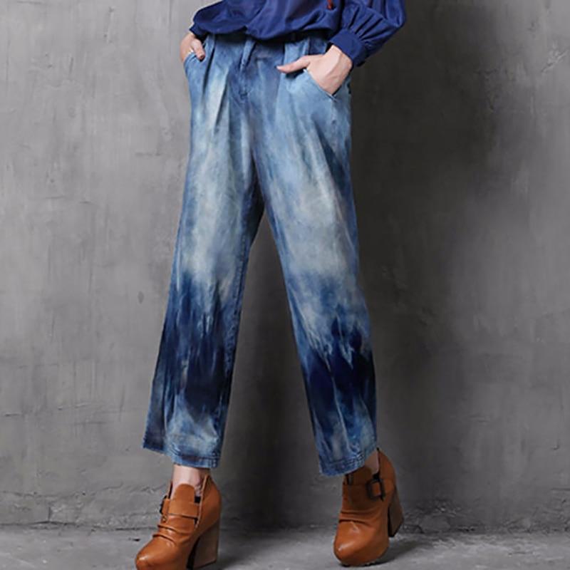 Nuevas Vaqueros Las Feminina Azul Dye A071 Mujeres Loose 2018 De La Denim Washed Cremallera Pantalones Calca Largos Fly Vendimia Tie Mujer qEtPE