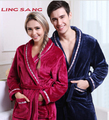 Autumn and winter flannel robe bathrobe male women's coral fleece velvet flannel  sleepwear thickening thickening lounge robes