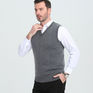 Image 3 - Cashmere sweater mens V collar winter  vest fashion youth business casual knitted sweater coat brand