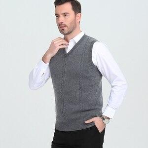 Image 3 - เสื้อกันหนาวผู้ชาย V คอฤดูหนาวเสื้อกั๊กแฟชั่นธุรกิจเยาวชนสบายๆถักเสื้อกันหนาวยี่ห้อ
