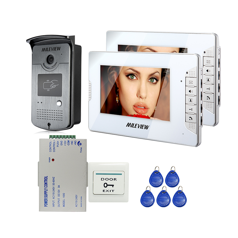 Wired 7 Color Video Door Phone Intercom System 2 White Screen + 1 700TVL RFID Access Door Camera + Power Control FREE SHIPPING different kinds color screen 7 inch video door phone video intercom wired door bell system with rfid card access control reader