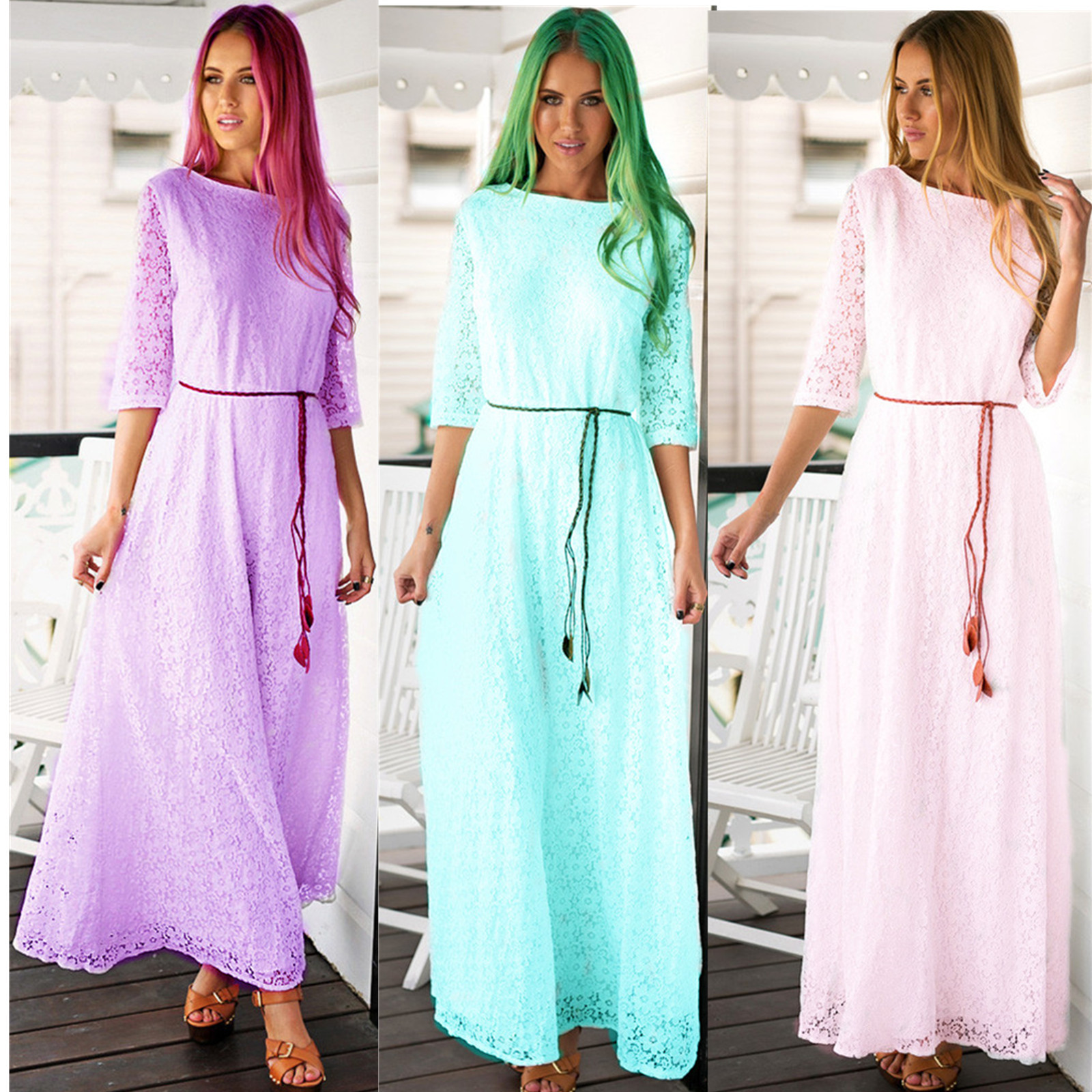 Vintage Long Retro Nightdress White Pink Purple Lace Crochet Maxi ...