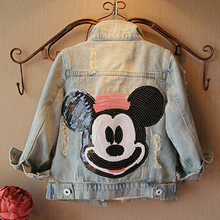 Girls outerwear  baby girl clothes 2017 spring autumn fashion Cartoon baby kids jacket long sleeve diamond girls denim jean coat