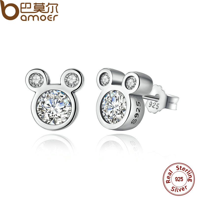 BAMOER Mother SALE 2018 925 Sterling Silver Dazzling Miky Mouse Stud Earrings for Women & Girls Sterling-Silver-Jewelry PAS457