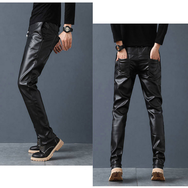 Idopy PU Faux Leather Pants Men Windproof Elastic Waist Motorcycle Biker Business Male Trousers Stretchy Leather With Drawstring 3