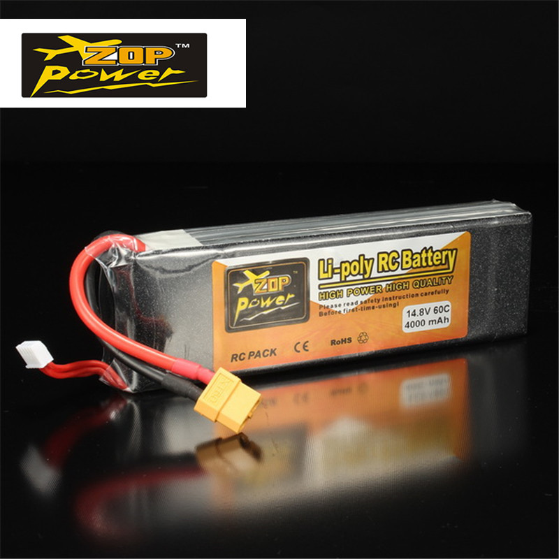 High Power Rechargeable Lipo Battery ZOP Power 14.8V 4000mAh 4S 60C Lipo Battery XT60 Plug For RC Helicopter Spare Parts  цена и фото