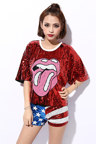 acbf4f824 Female sexy nightclub ds costumes Beyonce Bulls jazz Dance Wear tops singer  perform t shirt hip-hop clothing sequined tops
