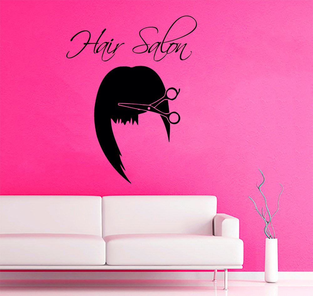 Girls beauty salon wall decal haie salon vinyl scissors for Salon pictures for wall