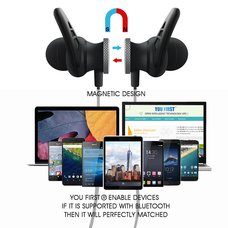 YOU FIRST Wireless Earphone Headphone Bluetooth Stereo Headset Sport Wireless Earphone Headphones With Microphone For Mobiles