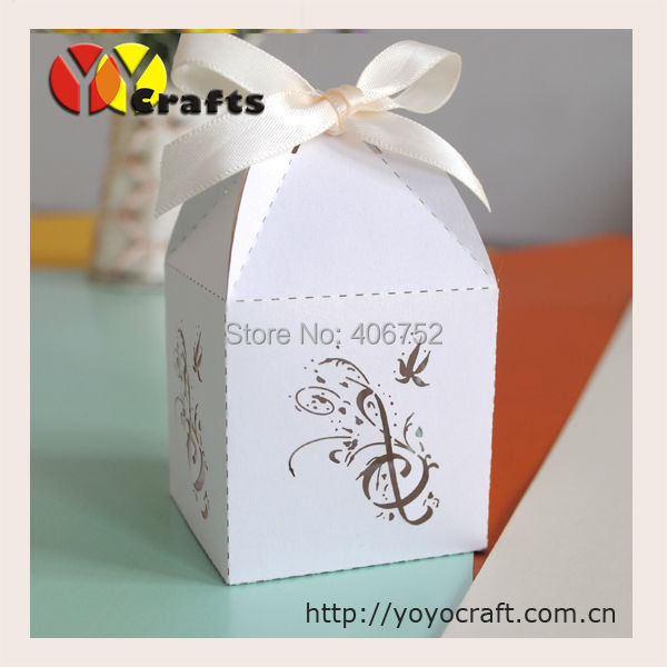 Unique Small White Music Note Laser Cut Paper Wedding Favor Box Bulk