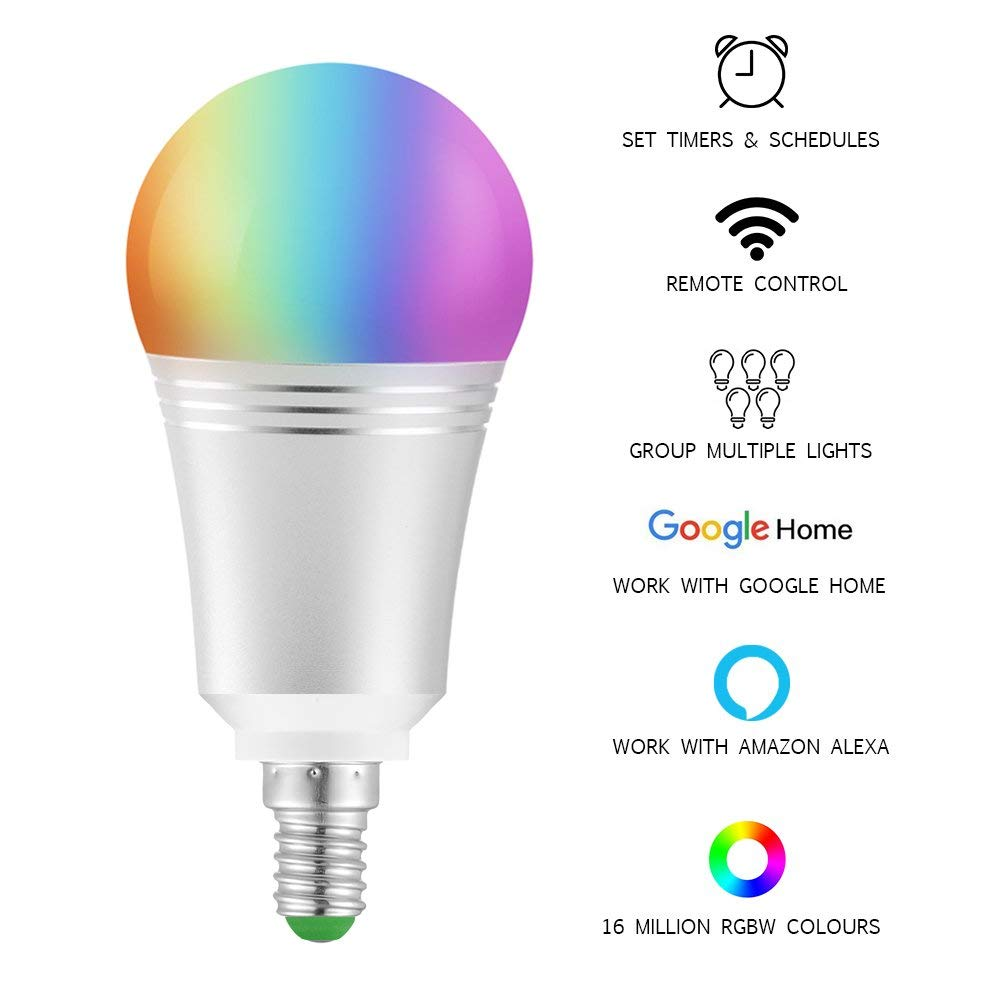 WiFi Smart Bulb LED Lamp 7W, 6000K, E14 Colour Dimmable 60W Equivalent Remote Control Voice Control by Amazon Alexa&Google Home frankever smart products wifi voice control discolourable bulb for bedroom club compatible with alexa google home