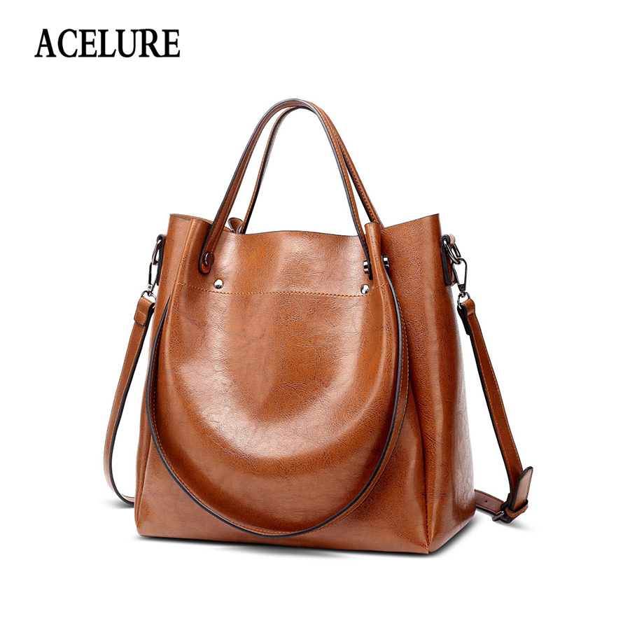 ACELURE Women Waxing Leather Totes Fashion And Simple Style Single Shoulder Bucket Large Capacity Crossbody Bag All Match