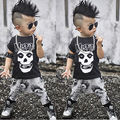 2pcs Newborn Toddler kids short sleeve skull sets Infant Baby Boys Girls Clothes T-shirt Tops+Pants Outfits Set