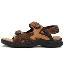 ROXDIA Genuine Leather New Fashion Summer Breathable Men Sandals Beach Shoes Men's Causal Shoes Plus Size 39-44 RXM002