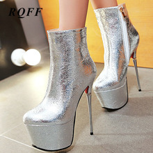 Platform Women Supper Thin High Heels 16 Fashion Shoes 2019 Womens Ankle Boots Sexy PU Leather Wedding Dress Catwalk Shoes Ladys shoes wedding pu sexy shoes adornment sexy nubuck leather mature woman shoes ankle wrap flock daily best seller thin high heels