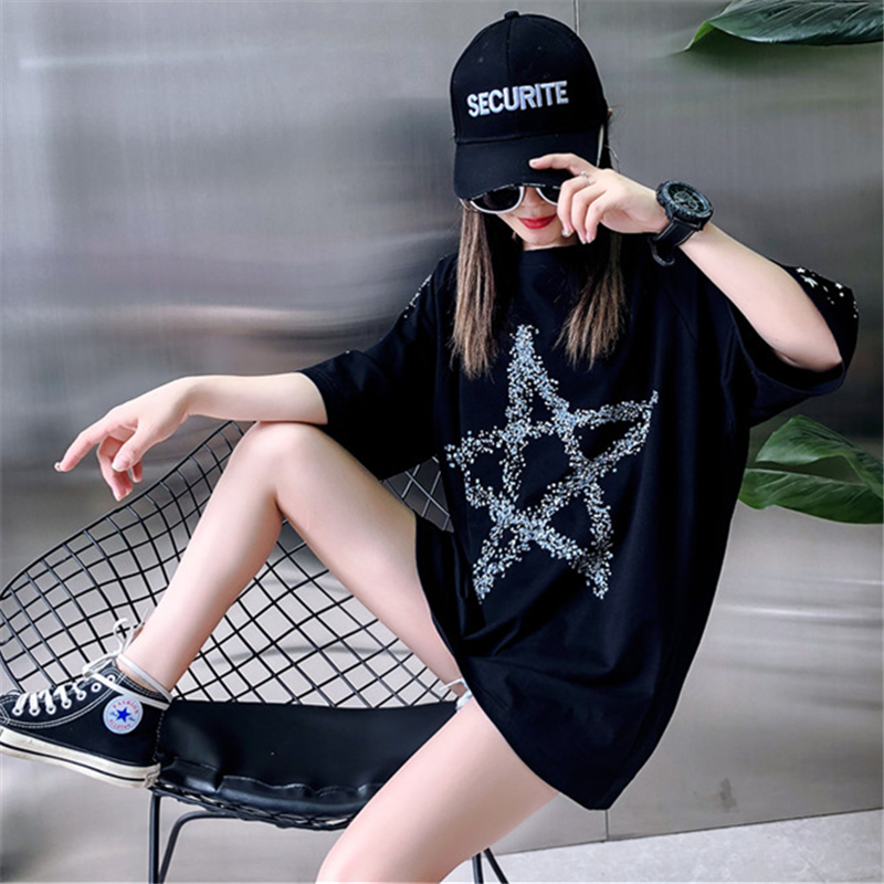 Loose Fashion Five-Pointed Star Dark Printing Short-Sleeved T-Shirt Female 2019 Summer New Round Neck T-Shirt Top H0056 6