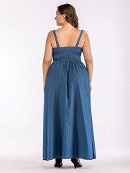 Europa lato duży rozmiar Sundress Denim Sukienka kobiety Sling duże wahadło Sukienka dla tłuszczu kobiet Casual długi Vestido Sukienka 5