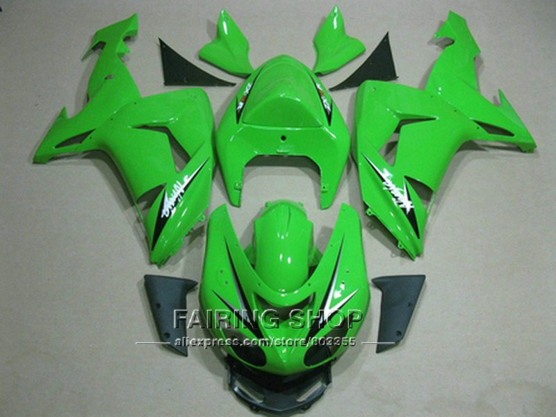 All parts green Fairing kit For Kawasaki Ninja zx10r 2006 2007 06 07 Injection mold Fairings Customize sticker x61 abs fairing kit for kawasaki zx10r zx 10r 2006 2007 ninja green black line 07 06 fairing kit xl36
