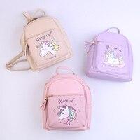 2018 Mini Cute PU leather Unicorn Printed Backpack Cartoon Backpacks Kawaii Women Girls Tassel Pack Bag for Teenagers Kids Beige