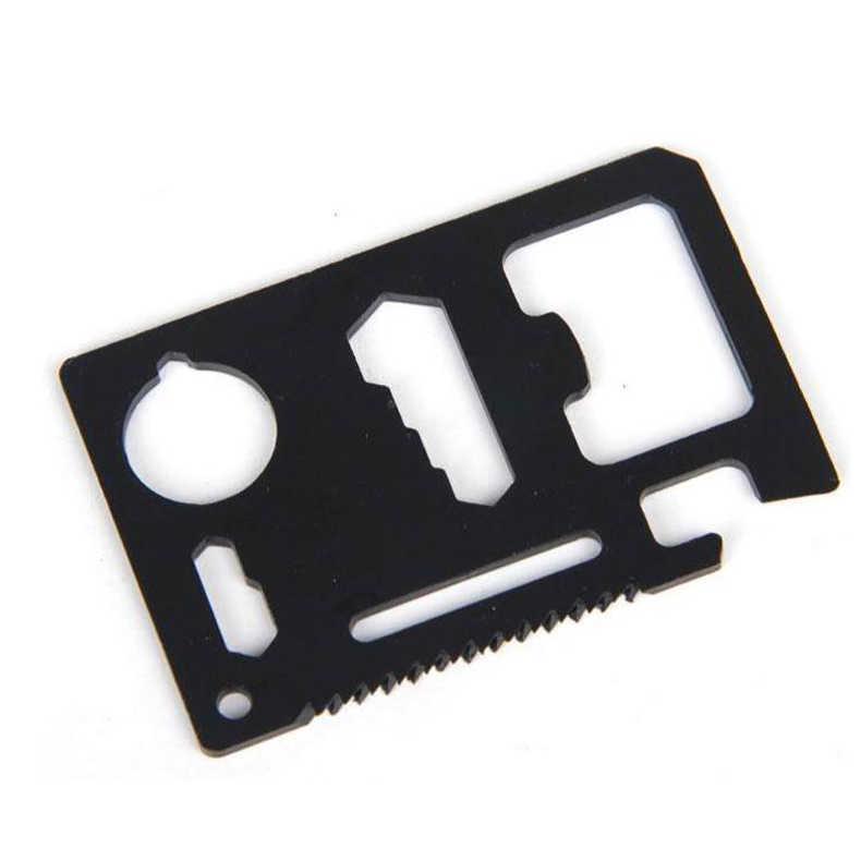 11 في 1 حجم بطاقة الائتمان المحفظة القاطع شفرة الفولاذ المقاوم للصدأ بقاء أداة متعددة الاستعمالات للتخييم التنزه بقاء DC120