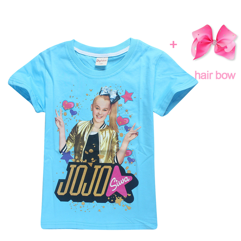 4 12Y 2018 Summer Jojo Siwa Princess Birthday Party Costume Short Sleeve T Shirts Hair Bow Floral Girls Clothing Big Girl Tops In Tees From Mother Kids