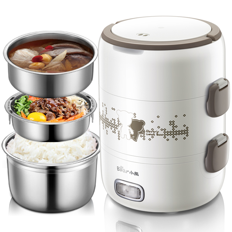 Bear 2l Electric Heating Three Layer Stainless Steel Cooking Lunch Box Multi Cookers cukyi stainless steel 304 liner double layer electric heating lunch box multifunctional household cooking rice steam heating