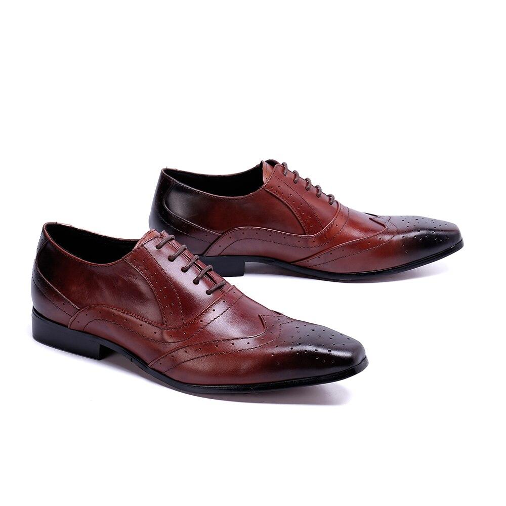 Oxfords De Christia Hombres Cuero Genuino Oxford Pie Dedo Clásico Formal  Vestir Negocios Brogue Negro Los Zapatos Tallado ... 20e312874624