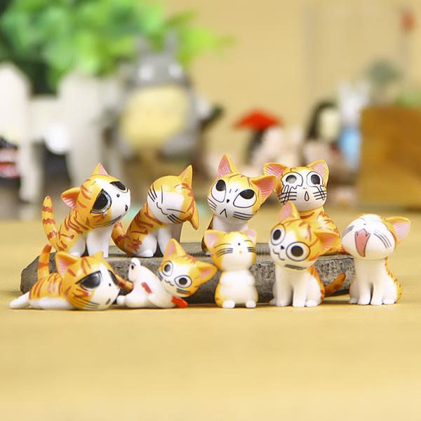 9 pcs/set Chi's Sweet Home Cute Cat Kitty Figures Toy Cartoon Anime Mini Cat Emoji Action Figures Decoration Totoro Toys 9pcs set chi s sweet home cat cats figures animal decoration action figures collection model toys 3 4cm