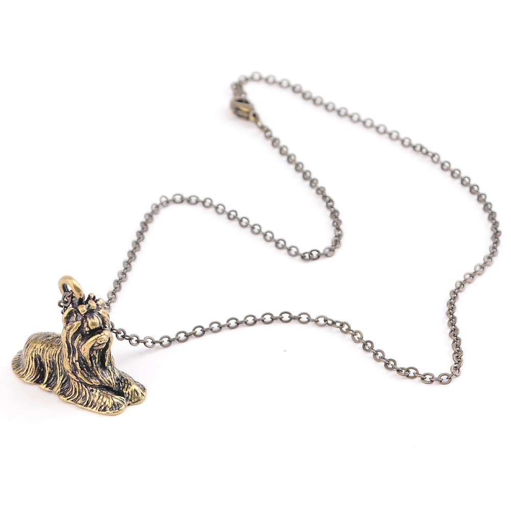 QIAMNI New Style 3D Realistic Yorkshire Terrier Yorkie Puppy Dog Animal Necklace Unique Pendant Gift for Girls and Women
