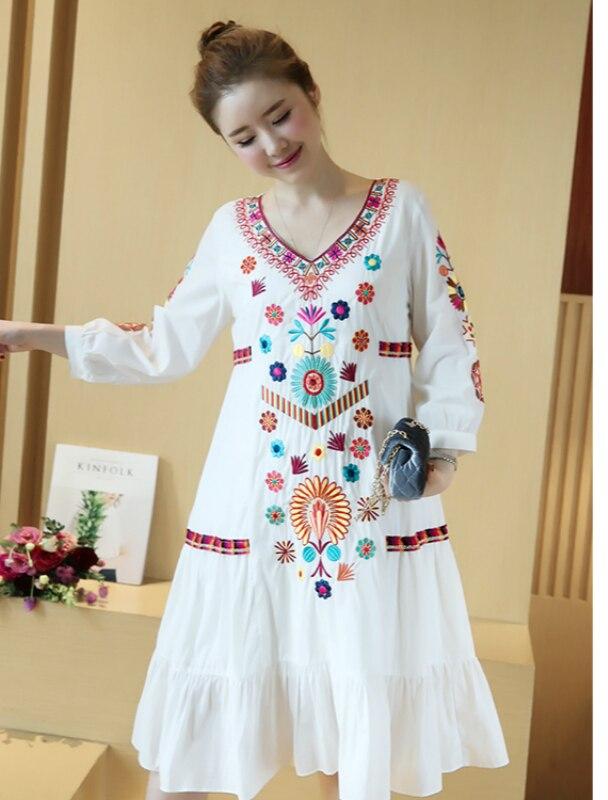 White Embroidery Spring Blue Vintage Lace navy Ruffle Ethnic Linen Cotton Bohemian Boho Hippie White Retro Beach Women Goth Elegant Dress waH0S7q
