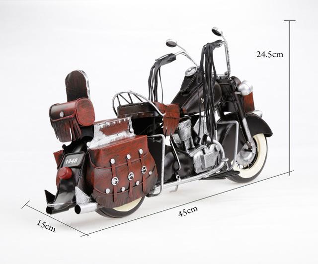 1 pcs 17.5 polegadas feitas à mão tradicional colorido desenho do exército modelo de moto de metal para mesa de baralho.