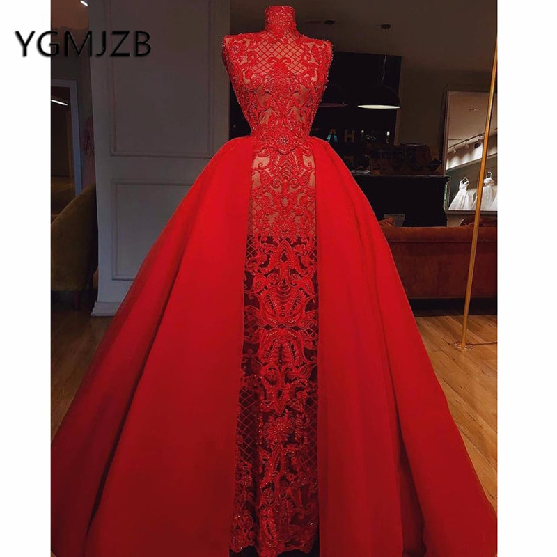 Prom Dress With Detachable Train: Sukienki Na Bal 2019 Red Lace Prom Dresses With Detachable