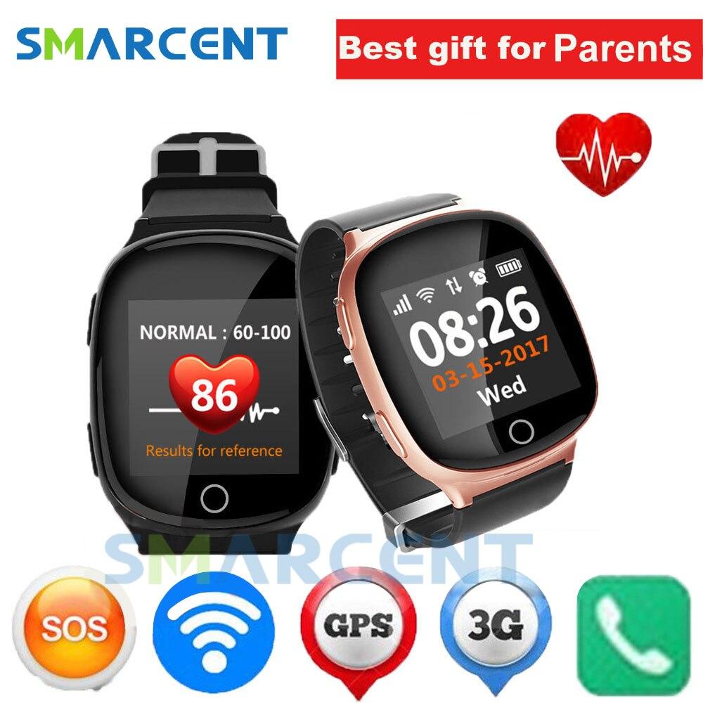 D100 Personnes Âgées Montre Smart Watch Coeur moniteur Avec automne alarme fonction Anti-perdu Gps + Lbs + Wifi suivi pour iOS Android montres