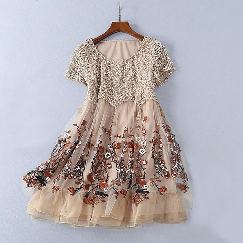 korean style 2018 pearl beaded mesh flower embroidered dress o-neck short  sleeve casual mini 8670093903 411629418back 8705375486 411629418 ... 0c1e6bdac5e2