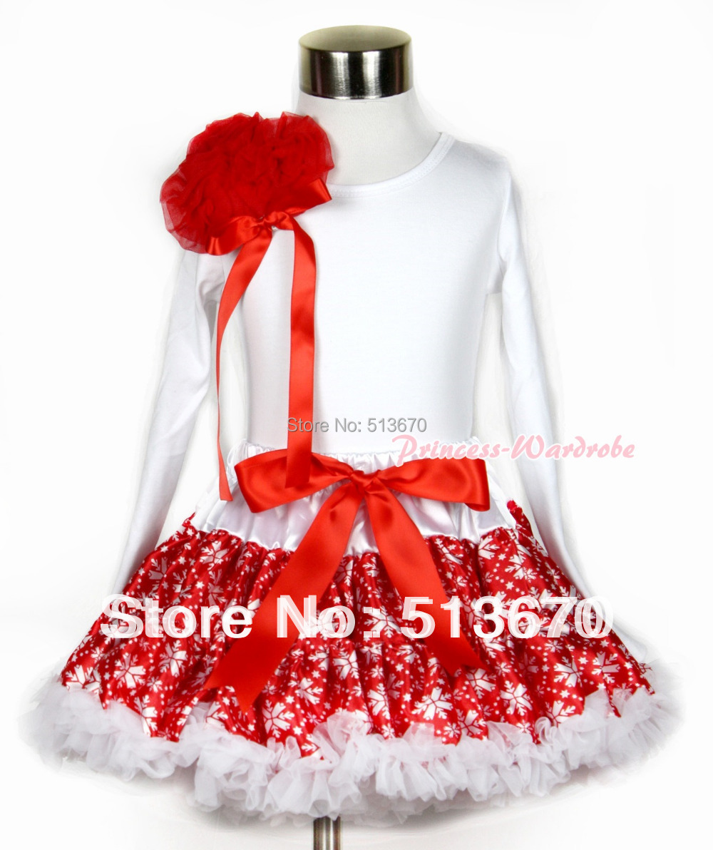 Xmas Red Snowflakes Pettiskirt with Matching White Long Sleeves Top with Bunch of Red Rosettes & Red Bow MAMW254 xmas red white pettiskirt with christmas gingerbread snowman print white long sleeve top with red lacing mamw402
