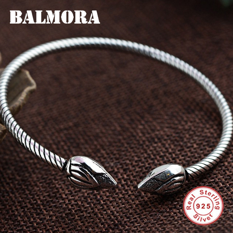 BALMORA 925 Sterling Silver Jewelry Vintage Lotus Open Bracelets Bangles For Women Gifts About 16cm High Quality Bijoux SZ0199