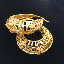 Nuevos pendientes de boda Vintage ahuecados de Color dorado para mujer, pendientes de novia de Dubai, artículos de joyería africana de Ramadán, Oriente Medio