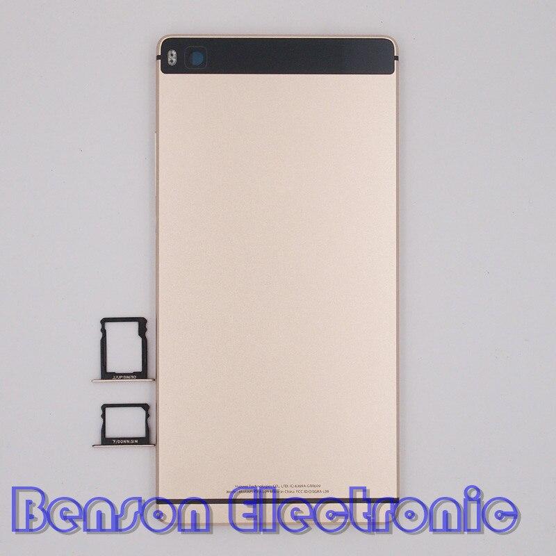 imágenes para BaanSam Nuevo Metal de la Batería Volver Cubierta de la Bandeja de Tarjeta de SIM Para Huawei Ascend P8 5.2 Pulgadas Versión Estándar Del Caso de Viviendas Con botones