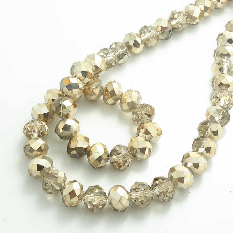 Glass Rondelle Faceted Beige Tan Loose Beads spacer AAA 3mm 4mm 6mm 8mm 10mm