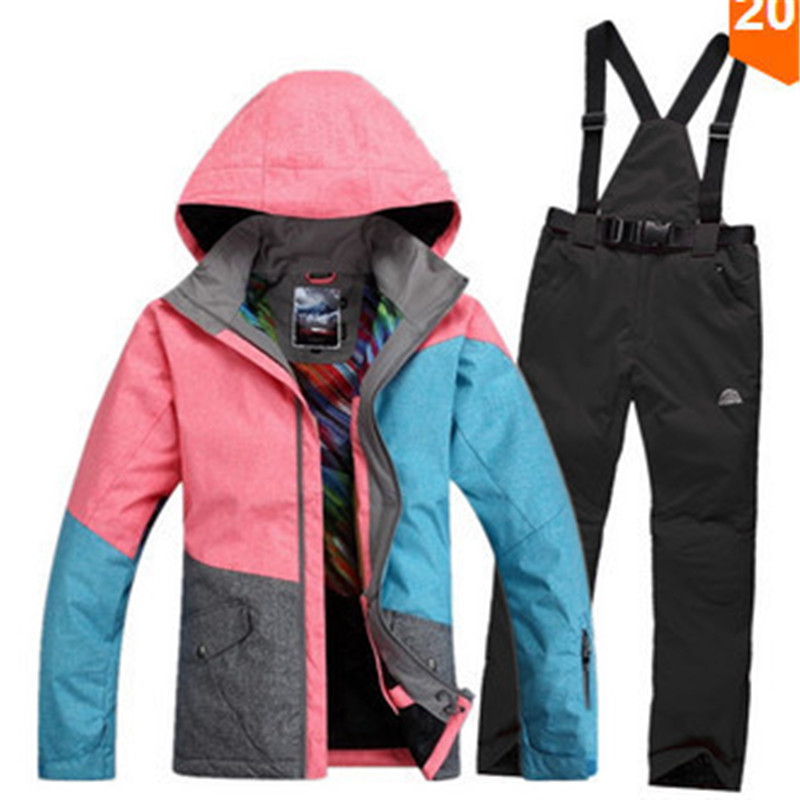 Prix pour Hiver femmes Neige Costume coupe-vent imperméable femal jeu de combinaison de ski snowboard veste et pantalon vêtements de ski en plein air Costume