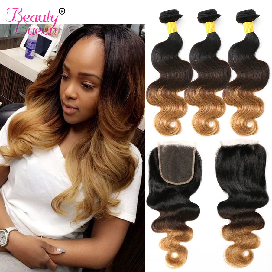 Ombre Blonde Bundles With Closure Ombre Brazilian Blond Human Hair Body Wave 3 Bundles With Closure
