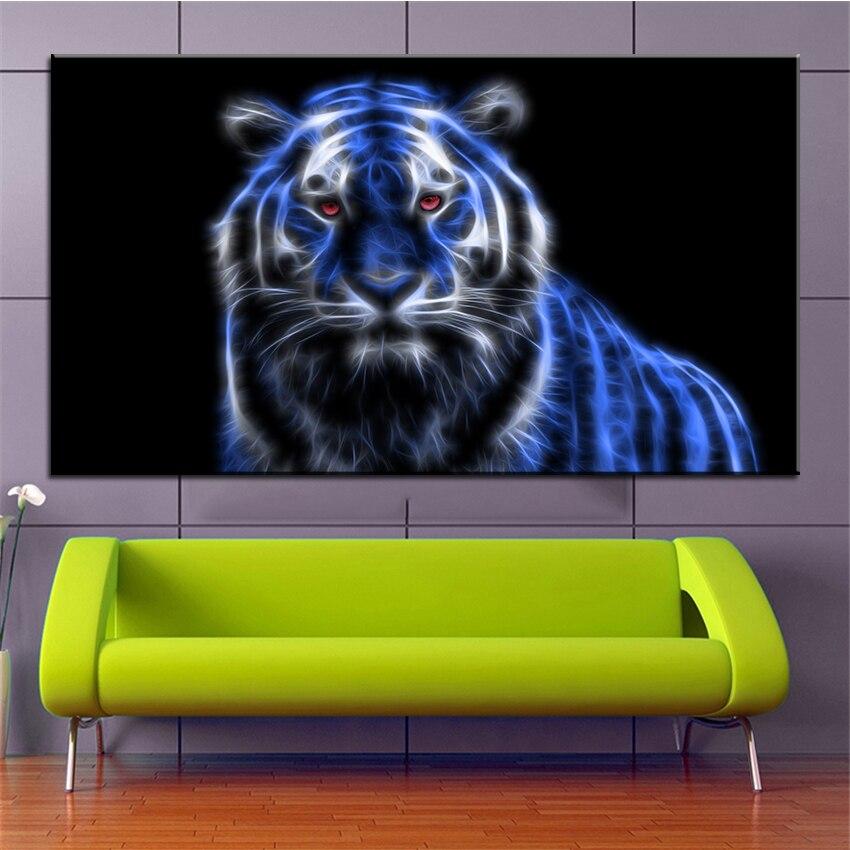 ᗕImpresión de gran tamaño pintura al óleo tigre que brilla ...