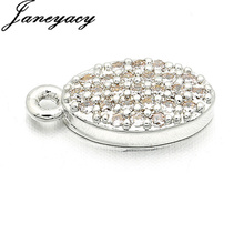 Fashion Brass Cubic Oval Pendant Accessories Zircon DIY Earrings Necklace Production Connector Accesorios L12*W6mm