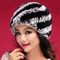 Hot Sales Winter Caps Women 8 Colors Handmade Knit Real Rex Rabbit Fur Hats Natural Rabbit Fur Hats Beanies Female