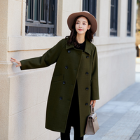 2018 New Women Woolen Coat Korean Pure Color Woolen Double Breasted Loose Long Coat Army Green/Dark Purple