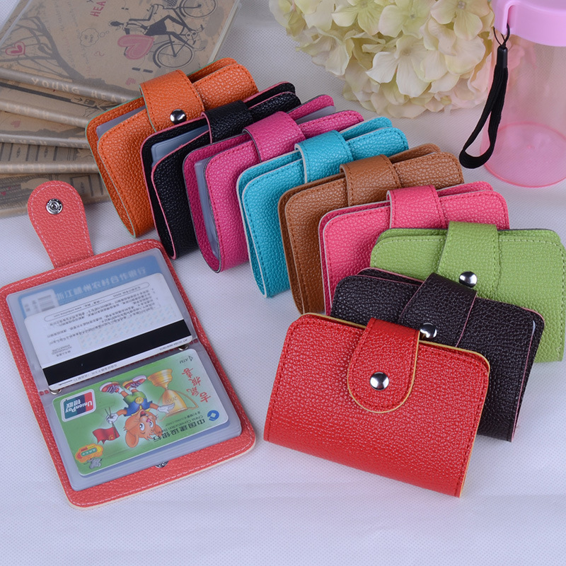 Hot Sale 24 Bits Quality PU Leather Fashion Credit Card Holder Litchi Profile Buckle ID Holders Package Organizer For Women Men стоимость