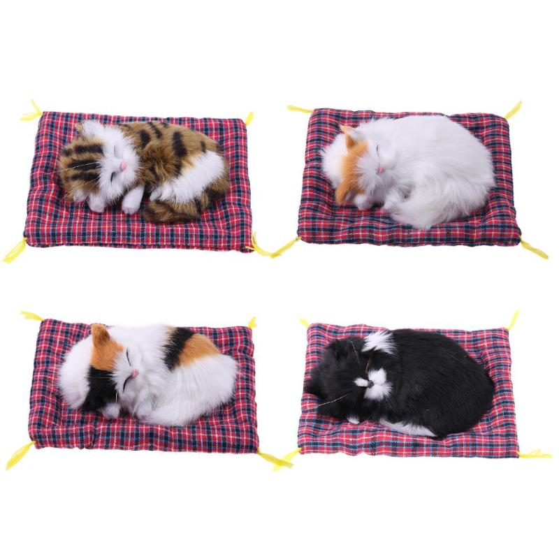 Cute Stuffed Toys Animal Simulation Doll Plush Sleeping Cats Toy with Sound Kid Children Gift Home Decoration switch for Meows