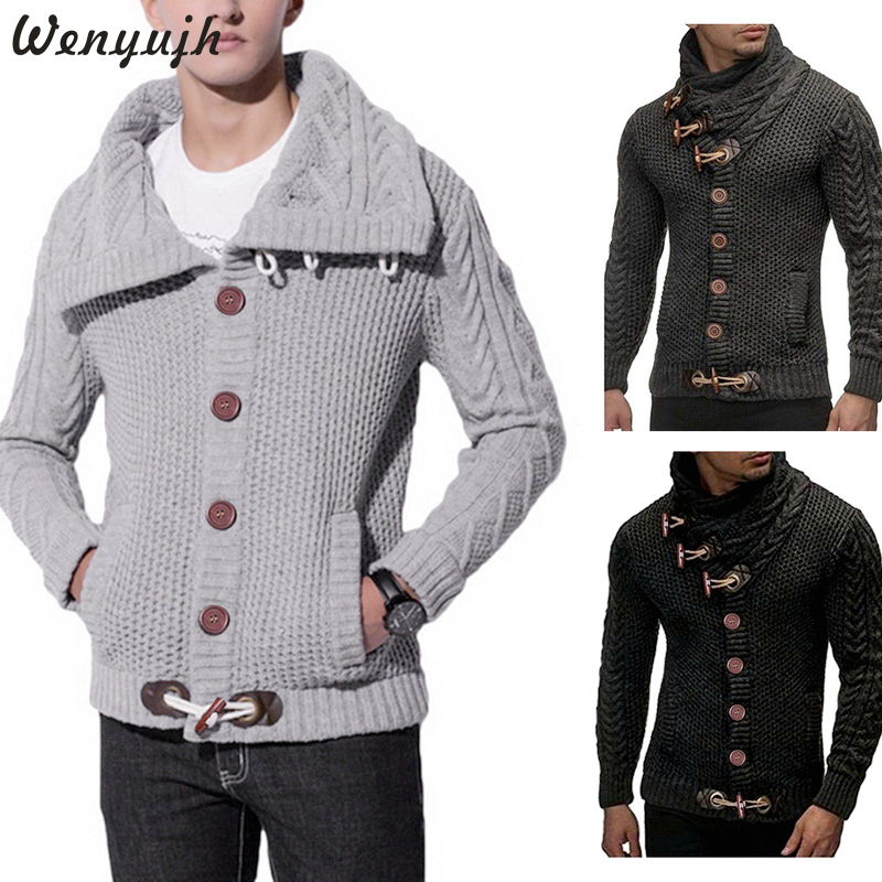Wenyujh 2019 Mens Autumn Winter Long Sleeve Turtleneck Cardigan Male Fashion Sweater Coat Slim Fit Warm Knitting Clothes Sweater